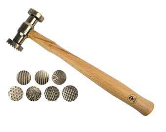 Texturing Pattern Hammer w/ 7 Interchangeable Faces Jewelry Making Metal Forming Tool - HAM-0030