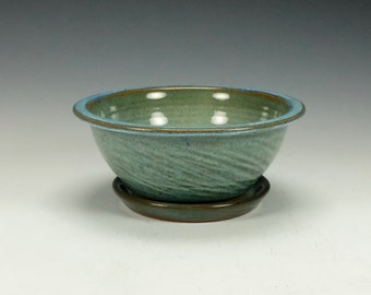 Stoneware pottery berry bowl with saucer.  Blue Green.  Ready to ship.