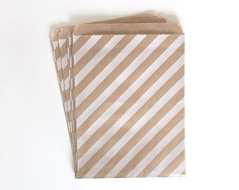 kraft paper bags - party treat bag - wedding favor bags - flat paper bag - gift bags - kraft paper bags - stripe bags - set of 10 bags
