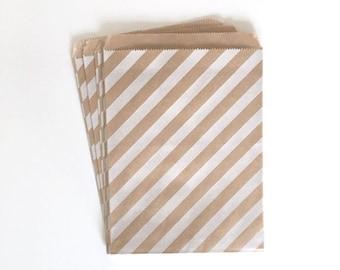 kraft paper bags - party treat bag - wedding favor bags - flat paper bag - gift bags - kraft paper bags - stripe bags - set of 10 bags