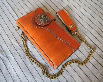 Leather Biker Wallet, Leather chain wallet, Biker wallet chain, Skull wallet, Wallet with chain, Chain Wallet, long leather wallet,