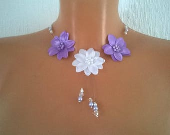 Necklace bridal wedding holiday party satin, white beaded flowers / Parma violet ceremony bridesmaid
