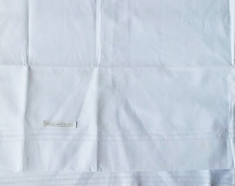 Pair of Vintage Hand Drawn Work White Pillowcases - New Old Stock - Unused - 100% Cotton - Set of 2