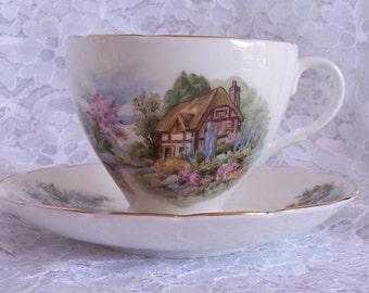 Sale. English Country Scene Teacup, English Bone China, English Cottage Scene