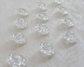 12 marvellous large clear  glass buttons - with fabulous surfaces - 22mm - 7/8 in. -