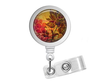 Batik Photo Glass/ Bottle Cap Retractable ID Badge Reel