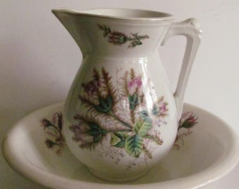 Moss Rose Pattern White Ironstone Pitcher and Bowl Antique White Ironstone Large Ewer antique bathroom  toilet set Pitchers