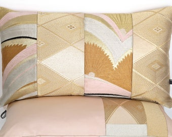 Art Deco Decorative Pillow Cushion in Metallic Pink, Gold, Silver & Rust in Arch Waves made from rare Vintage Japanese Obi Silk Ltd Edition