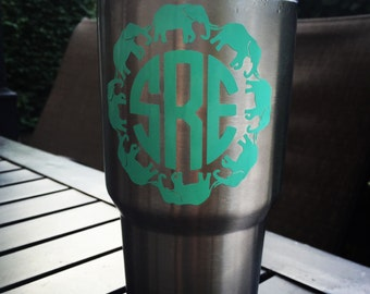 Monogram Elephant Decal for Yeti, Planner, Car, and More!