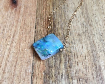 Raw Opal Necklace - Opal Jewelry - Raw Stone Necklace - Gift For Her - Necklace For Mom - October Birthstone Necklace - Opal