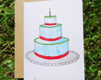 Birthday Cake Blank Card Watercolor