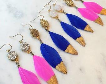 Gold Dipped Feather Earrings, Gold Druzy Earrings, White Druzy Earrings, Black Feather Earrings, Statement Earrings, Fairytale Gift