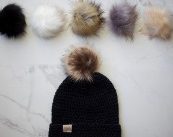NEW* Black - Merino Wool POM Beanie