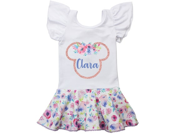 Minnie Mouse Ears Floral Leotard Personalized Leotard Skirt with Snaps Twirl Flutter Sleeve Bow Back Ballet Birthday Watercolor Floral