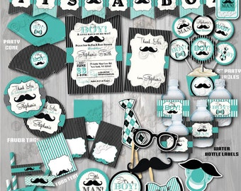 On Sale! Little Man Baby Shower Package-Printable Mustache Baby Shower Decoration-Mustache Party-Teal Little Man Baby Shower Decorations