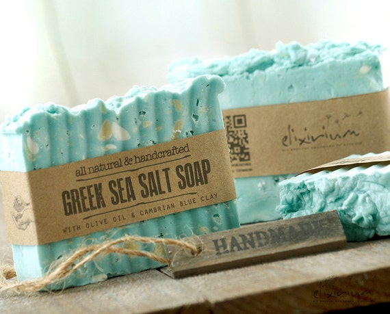 GREEK SEA SALT Soap • With Cambrian Blue Clay & Olive Oil, a rustic, vegan, handmade soap for organic skin care.