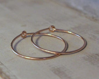 Rose Gold Hoop Earrings - One inch rose gold filled hoop earrings