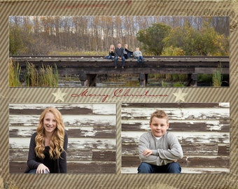 Three vintage Christmas Card Templates for Photoshop