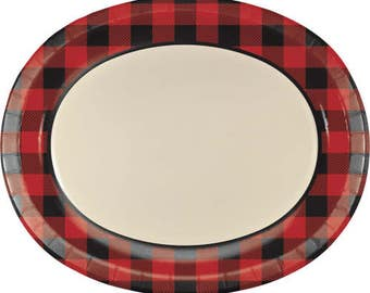 8 CT Plaid Large Oval Paper Plates/ Buffalo Plaid Paper Jumbo Plates/ Lumberjack Party Plates/ Red and Black Plaid Party  sc 1 st  Etsy Studio & 8 CT Plaid Small Paper Plates/ Buffalo Plaid Paper Plates ...