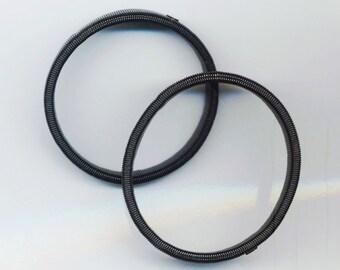 Vintage Designer Black Elastic Bracelet . Flexible Plastic Acrylic. Round Stackable Bangle - Stylish Black Bracelet by enchantedbeas on Etsy