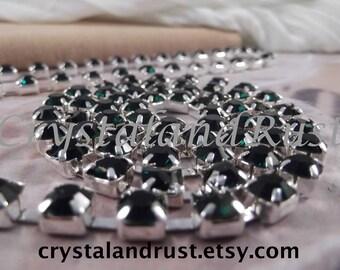 6mm --- Emerald Rhinestone Cup Chain --- Silver Base Metal --- 1 yard (36 inch)