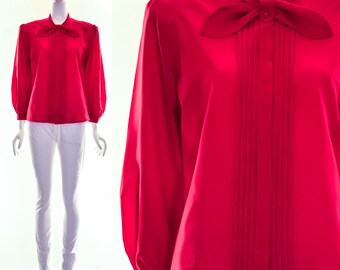 Vintage 70s RED TUXEDO Pussy Bow Blouse Neck Tie Neck Bow Bardot Top Med Large