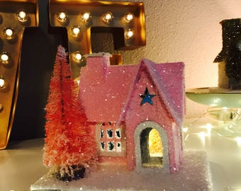 Little Holiday Glitter House - Vintage Inspired German Putz Glitter Christmas House, Christmas Decor, PINK