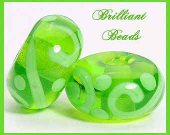 Bright Spring Green Scrollwork Glass Beads- Handmade Lampwork Pair SRA, Made To Order