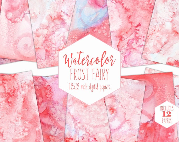 FLAMINGO PINK WATERCOLOR Digital Paper Pack Commercial Use Backgrounds Blush Coral & Salmon Scrapbook Papers Watercolour Textures Clipart