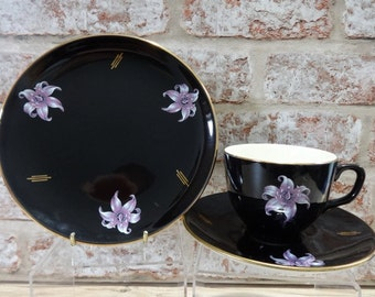 Palissy Orchid Trio Black - Trio Cup Saucer and Side Plate Vintage