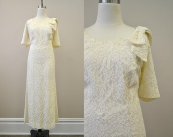 1960s Lace Wedding Dress with Bow
