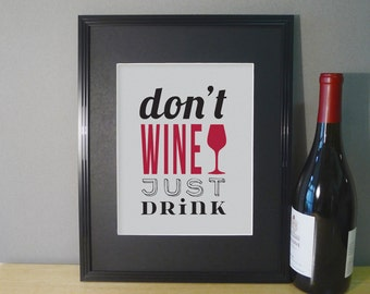 Wine Wall Decor Art Print - Dining Room Wall Art - Typography Poster - Wine Glass Prints 8x10 Gray and Wine Red Shown