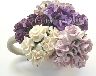 15 Purple White Curly Mulberry Paper flower scrapbook card making home decor wedding craft supply Baby Showers G2/601
