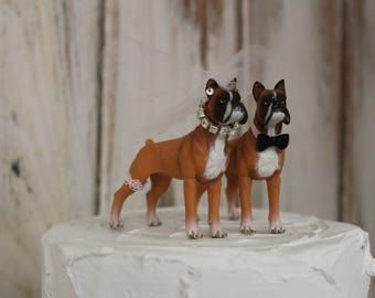 Boxer Dog Cake Topper, Dog Wedding Cake Topper,  Animal Cake Topper, Grooms Cake, Mans Best Friend Cake Topper