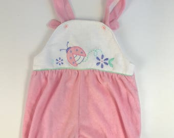 Vintage Pink Terrycloth Girl's Romper / Carters Baby Girl Romper / Terry Cloth Romper 24 months