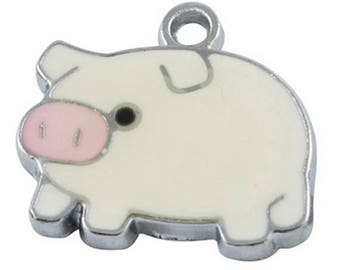Pig Enamel Silver Plated Charms Pendants 20mm x 19mm (019)