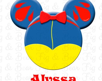 Snow White Personalized Mickey Mouse Disney T Shirt Iron On Transfer Personalized Free for Girls