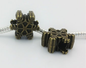 3 Beads - Snowflake Winter Bronze European Bead Charm E1493