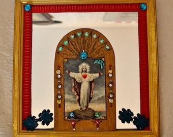 DIY miroir et icône bois Jesus gravée vintage en bois/ Jesus mirror carved wood