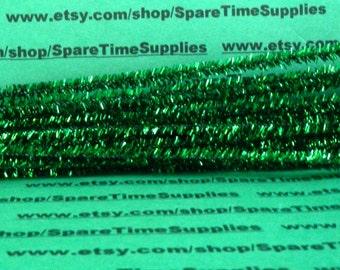 """Tinsel Stems - green - 6mm x 12"""" - 48 pcs - Fibre Craft - #3250-40"""