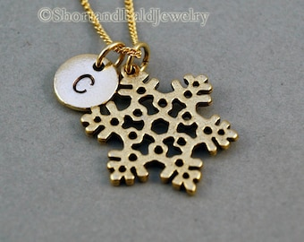 Snowflake necklace, gold snowflake, snow flake necklace, antique gold, initial necklace, initial hand stamped, personalized, monogram