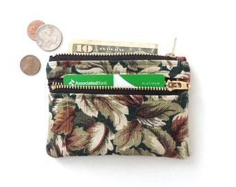 Botanical Wallet Pouch Double Zipper Coin Purse Leaves