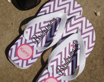 Wedding Flip Flops with Chevron