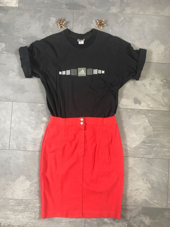 Vintage red skirt | Orwell tailoring | denim skirt | cotton lycra | tube | pencil | jeans