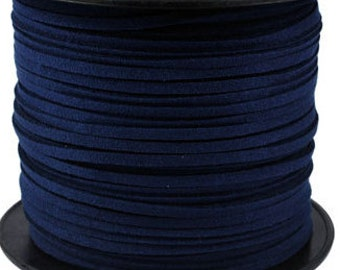 Blue Suede Cord - 15 feet / 5yds Microfiber Faux Suede Cord - 3mm x 1.5mm- Jewelry making Stringing Material  - W139