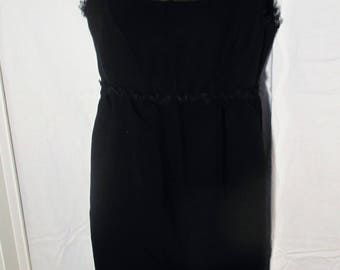 1960's Black Party Dress Little Black Dress Wiggle Dress Sheer Top Lace Trim