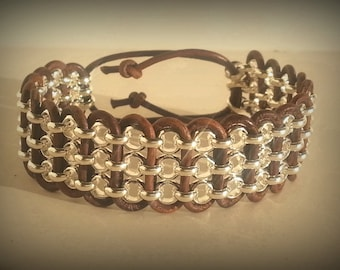 Natural Brown leather bracelet with Silver chain