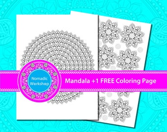 Printable Coloring Pages for adults Art Therapy Mandala coloring pages Adult colouring Printable Mandala Printable Mandala Art Symmetrical