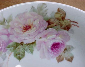 Gorgeous Antique Porcelain Serving Bowl with Hand Painted Pink Roses