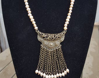 Pearl Necklace with copper pendant